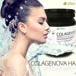 """Liftea Colagenova HA obsahuje 18 aminokyselin, včetně 8 z celkově 9 esenciálních aminokyselin, které naše tělo neumí tvořit. Colagenova HA se prodává jako pitný program na 30 dnů. Obsahuje patentované """"elixíry"""" krásy, kterými jsou hydrolyzovaný kolagen Peptan a kyselina hyaluronová HyaMax."""