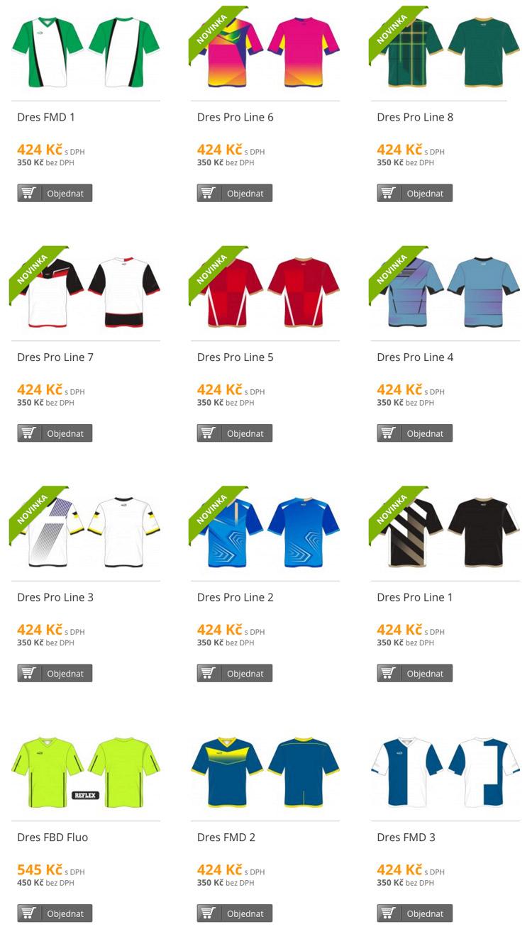 I takto mohou vypadat vaše fotbalové dresy. Potisky na dresy navíc jsou zcela zdarma a navrhnout si je lze pomocí šablon přímo na stránkách DDsport.