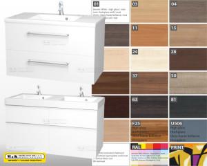 M&K stavební servis dodává skříňky s umyvadlem v mnoha velikostních a tvarových řešeních, včetně možnosti výběru dekoru, barvy nebo u vybraných modelů dokonce potisku.