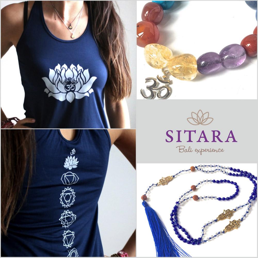 Oblečení na jógu Sitara je ze 100% pružné bavlny. Má hezký střih a zdobí jej symboly typické pro jógu.