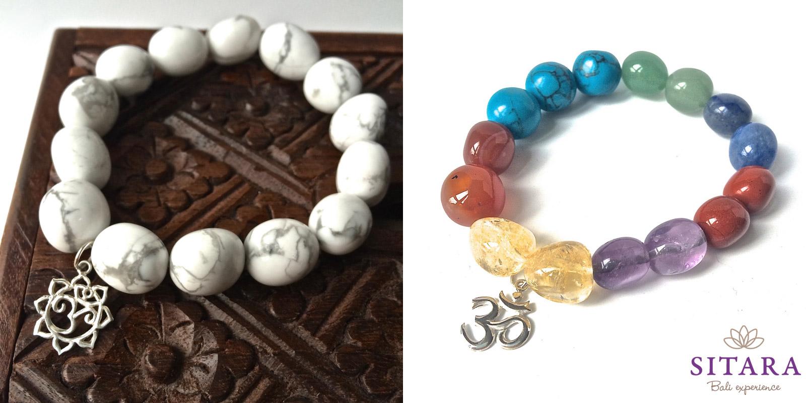 Náramky z e-shopu Sitara: čakrový náramek a náramek z magnezitem.