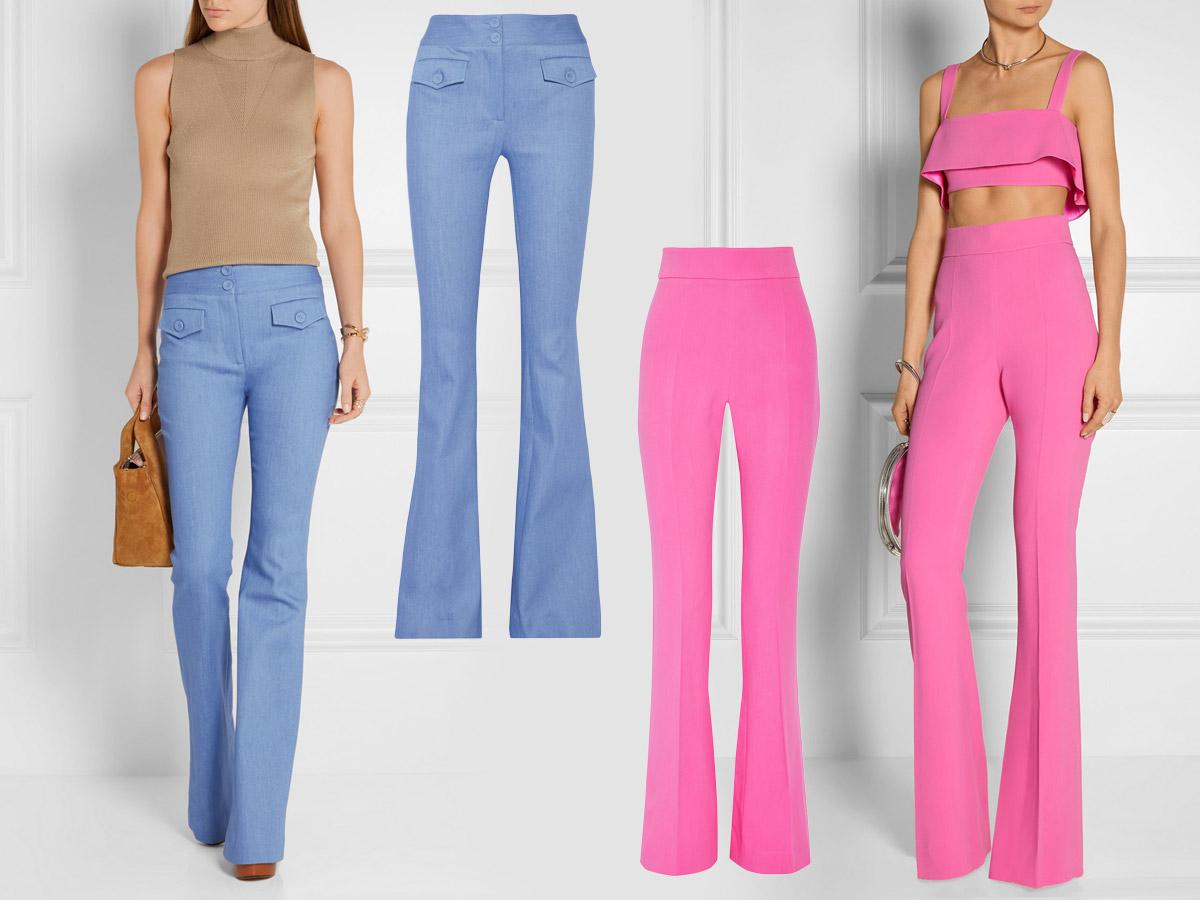 Zvonové kalhoty 2016 se objeví i v módních barvách roku – jako růžové v barvě Rose Quartz i jako modré v barvě roku Serenity. (Kalhoty: Adam Lippes, Cushine et Ochs.)