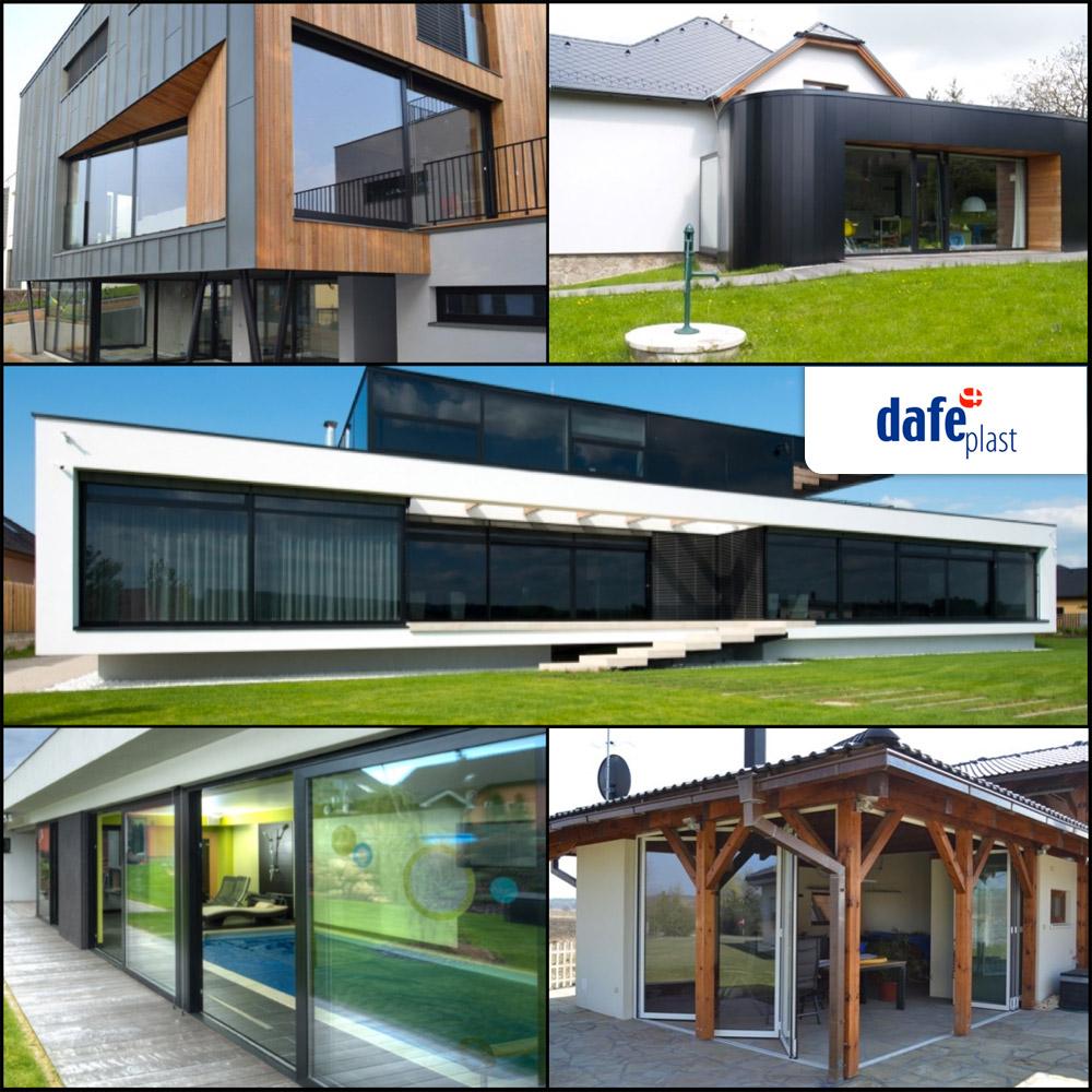 DAFE PLAST dodává rovněž kvalitní hliníková okna a prosklené fasády.
