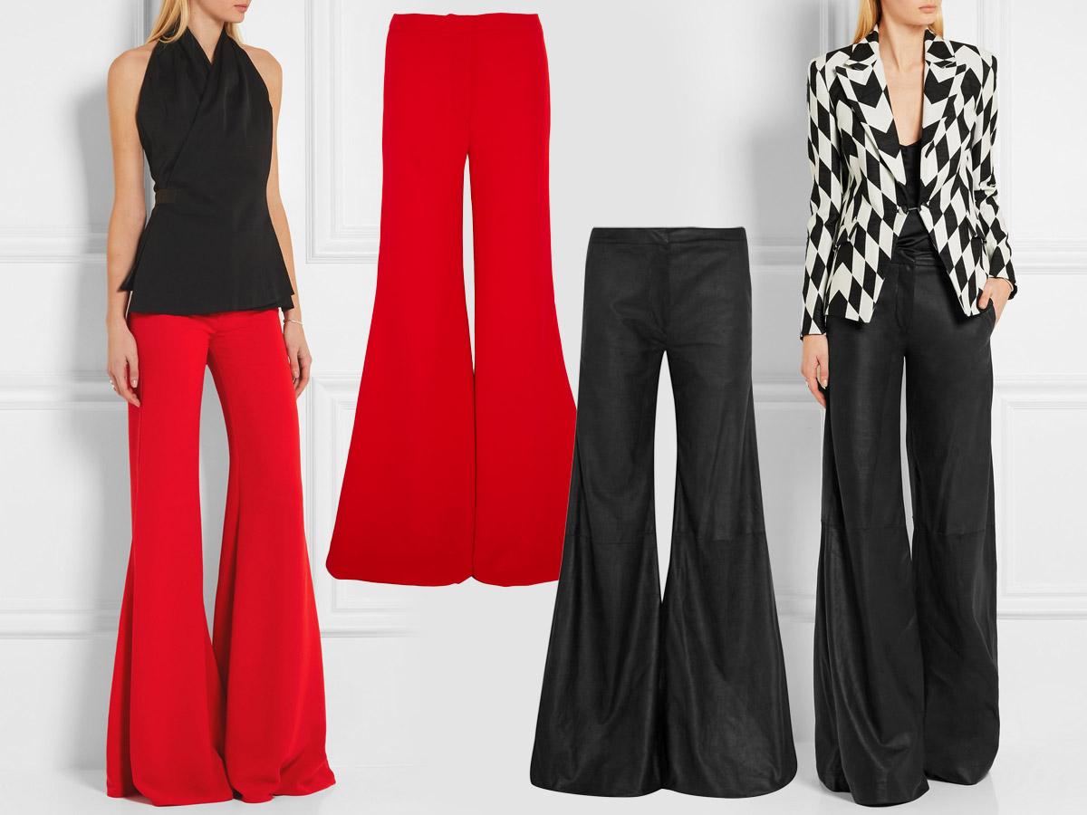 Do společnosti se hodí poněkud širší střih zvonových kalhot. (Kalhoty: Gareth Pugh.)