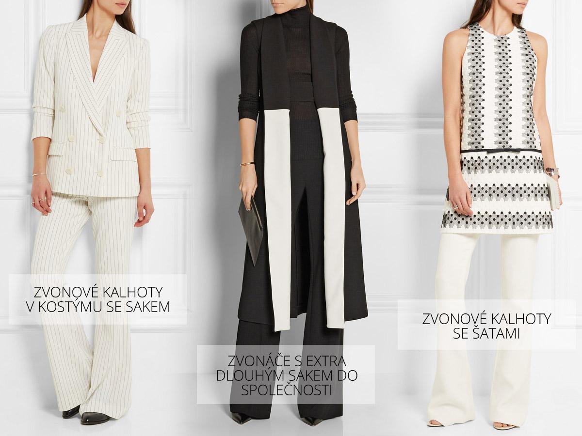 Možností, jak nosit v roce 2016 zvonové kalhoty je mnoho. Padnou si do oka se sakem v rámci kostýmu, žensky vypadají se šatami, v kombinaci s extra dlouhým sakem do společnosti si možná ani nevšimnete, že máte na sobě zvonáče. Zvony jsou velice variabilní dámské oblečení pro stylový šatník. (Kalhoty: By Malene Birger, Diane von Furstenberg, Giambattista Valli.)