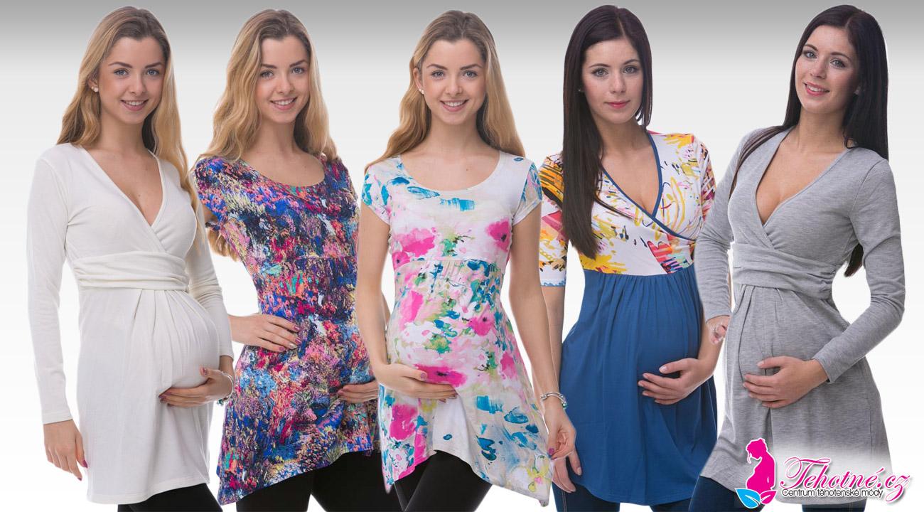 Díky krásným těhotenským tunikám získáte outfit vhodný do práce, na nákupy, na procházky, ale i na doma