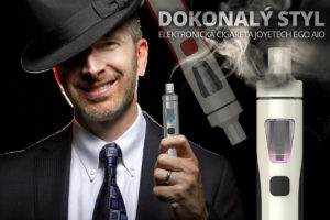 """Gentleman dnes kouří """"elektronicky"""". Elektronické cigarety neobtěžují okolí ani nepoškozují zdraví. Kvalitním a velice stylovým produktem je Joyetech eGo AIO."""