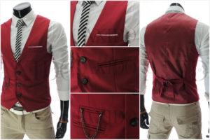 Červená pánská vesta ze sortimentu TAXIDO Fashion osvěží klasické kalhoty i outfit s džínami.