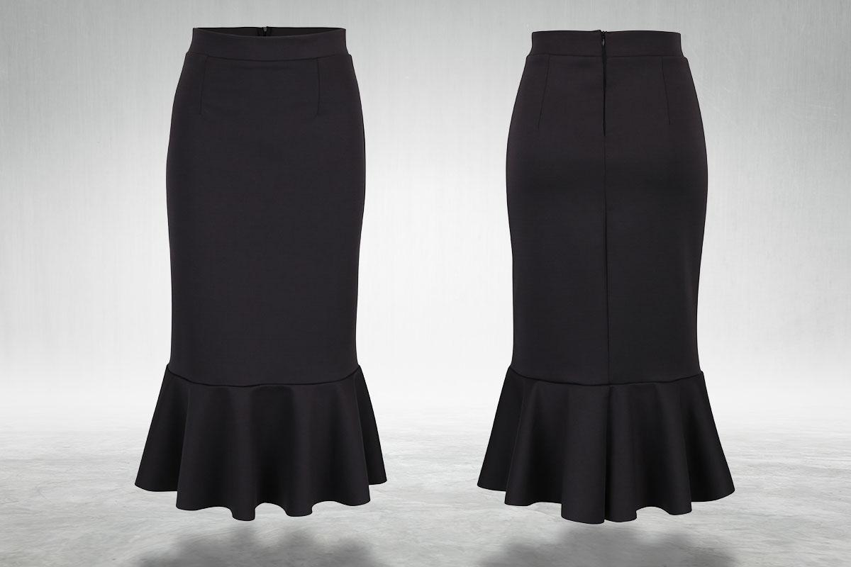 Tmavě šedá pouzdrová midi sukně s volánem Bluzat ze ZOOT.