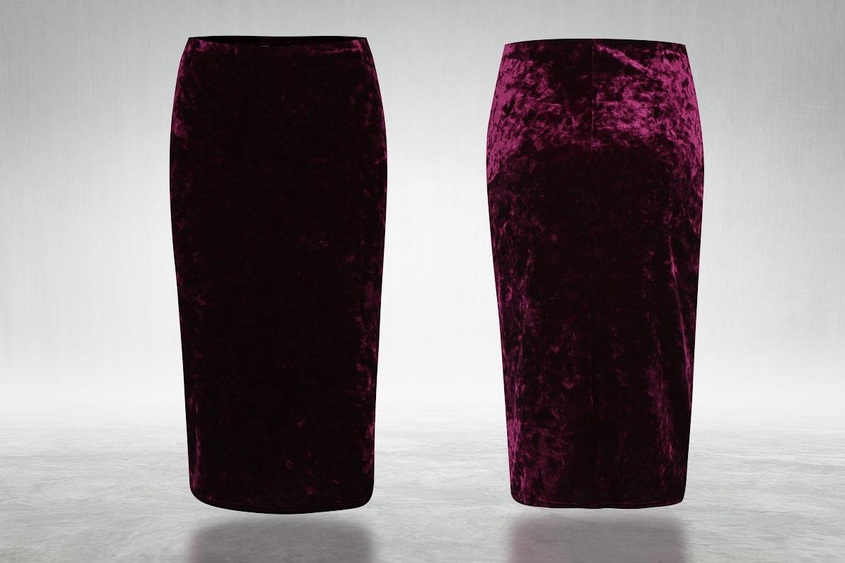 Vínová sametová pouzdrová sukně Dorothy Perkins vhodná i pro slavnostnější chvíle. Koupíte ji na ZOOT.