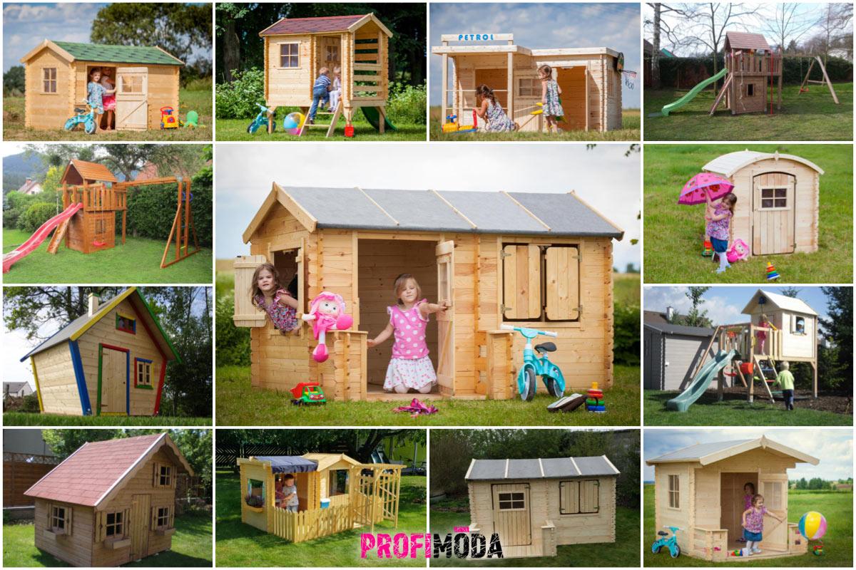 E-shop Skluzavky.cz nabízí dřevěné zahradní domky, hřiště a další hračky na zahradu.