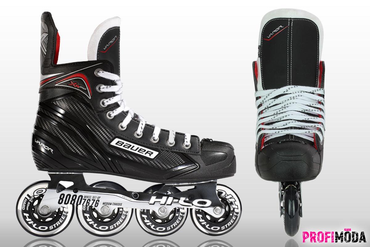 Kvalitní kolečkové brusle Bauer Vapor XR250 S17 pro rekreační hráče inline hokejei pro fitness in-line bruslení. Tvrdost koleček je 82A.