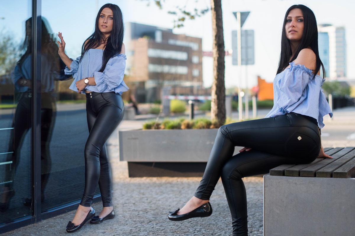Oblečení pro každou příležitost: Kožené kalhoty v džínovém střihu.