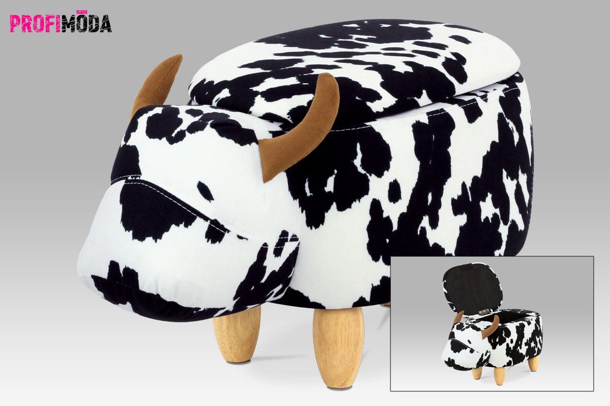 Levný nábytek: Plyšový taburet v podobě kravičky s odkládacím prostorem.