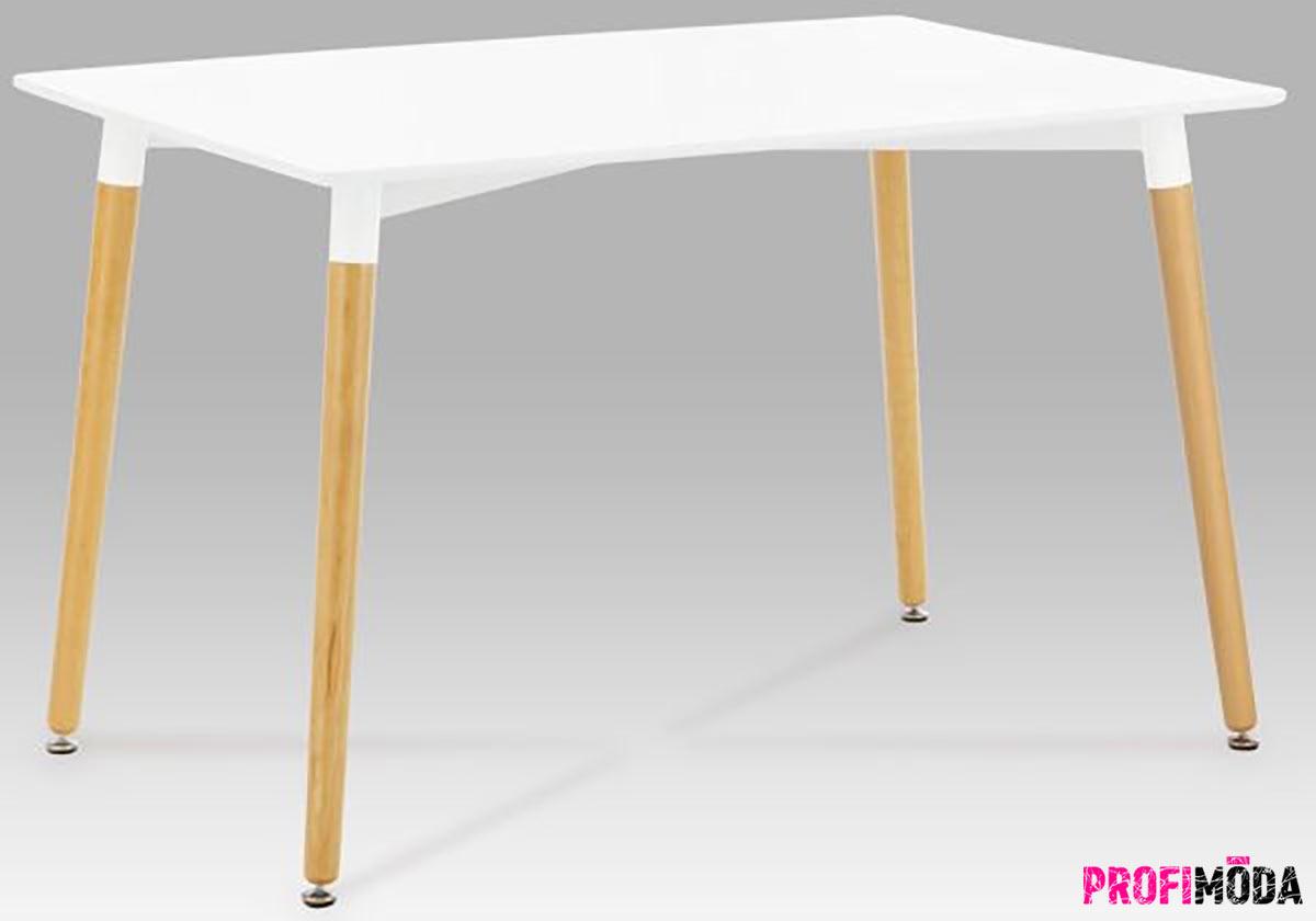Levný nábytek: Bílý jídelní stůl 120x80 cm v oblíbeném retro stylu.