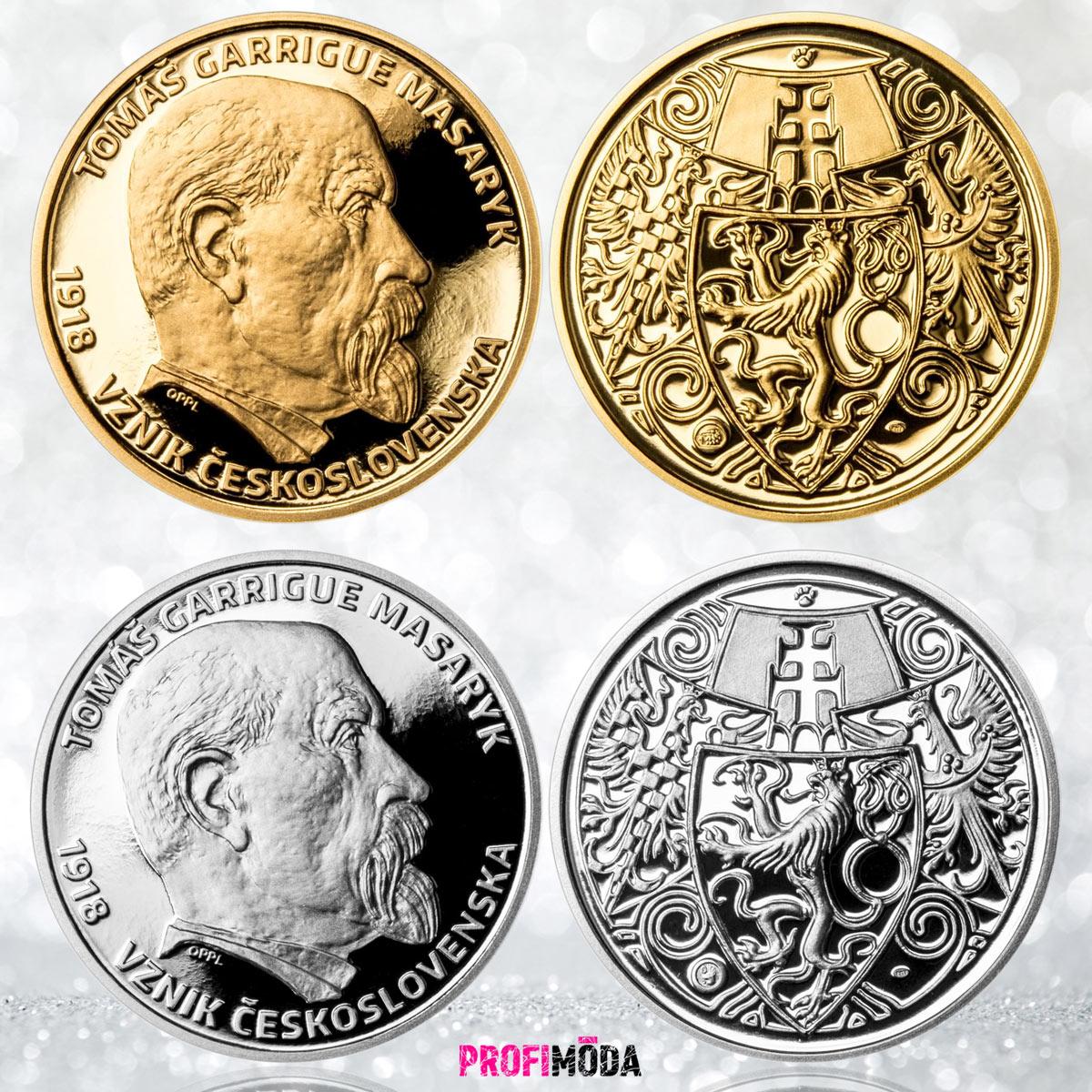 Zlatý Masarykův dukát vydává Pražská mincovna v setu se stříbrným odražkem.