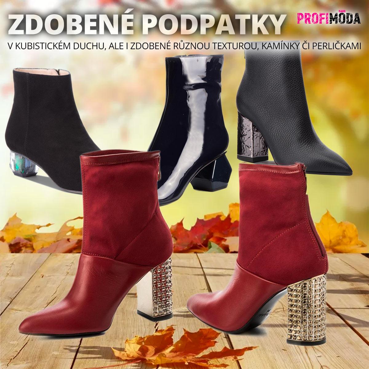 Dámské podzimní boty na podpatku ukazují, že podpatek dokáže vypadat klidně jako šperk.