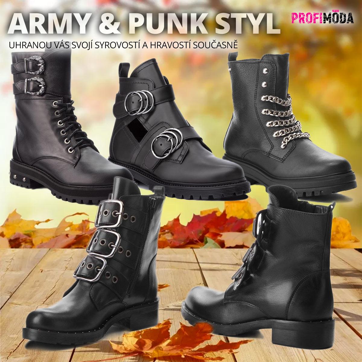 Boty ve vojenském stylu letos na podzim překvapivě doplní dámské botníky.