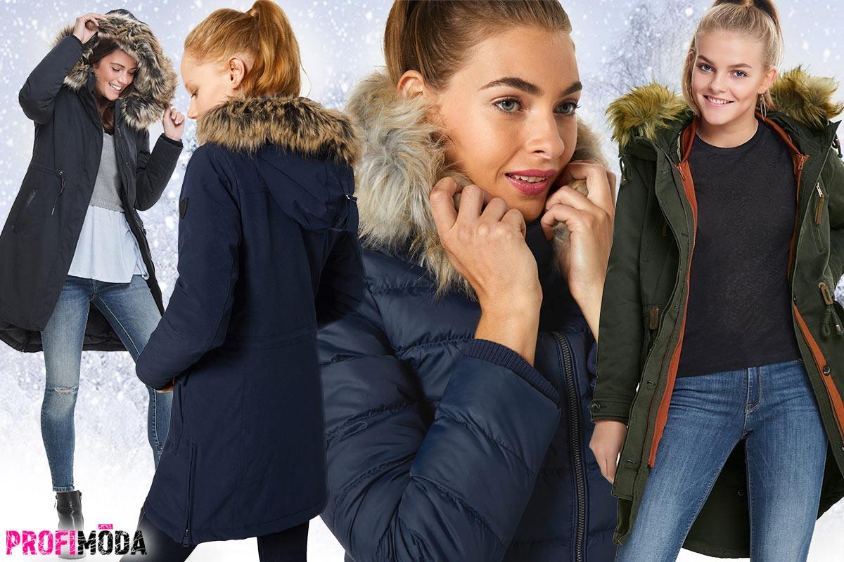 Zimní bunda s kožešinou na kapuci a límci letí.
