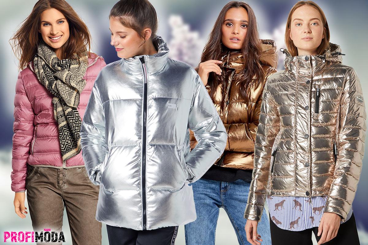 Nebojte se blýsknout! Metalické materiály na zimních bundách jsou hitem sezóny.