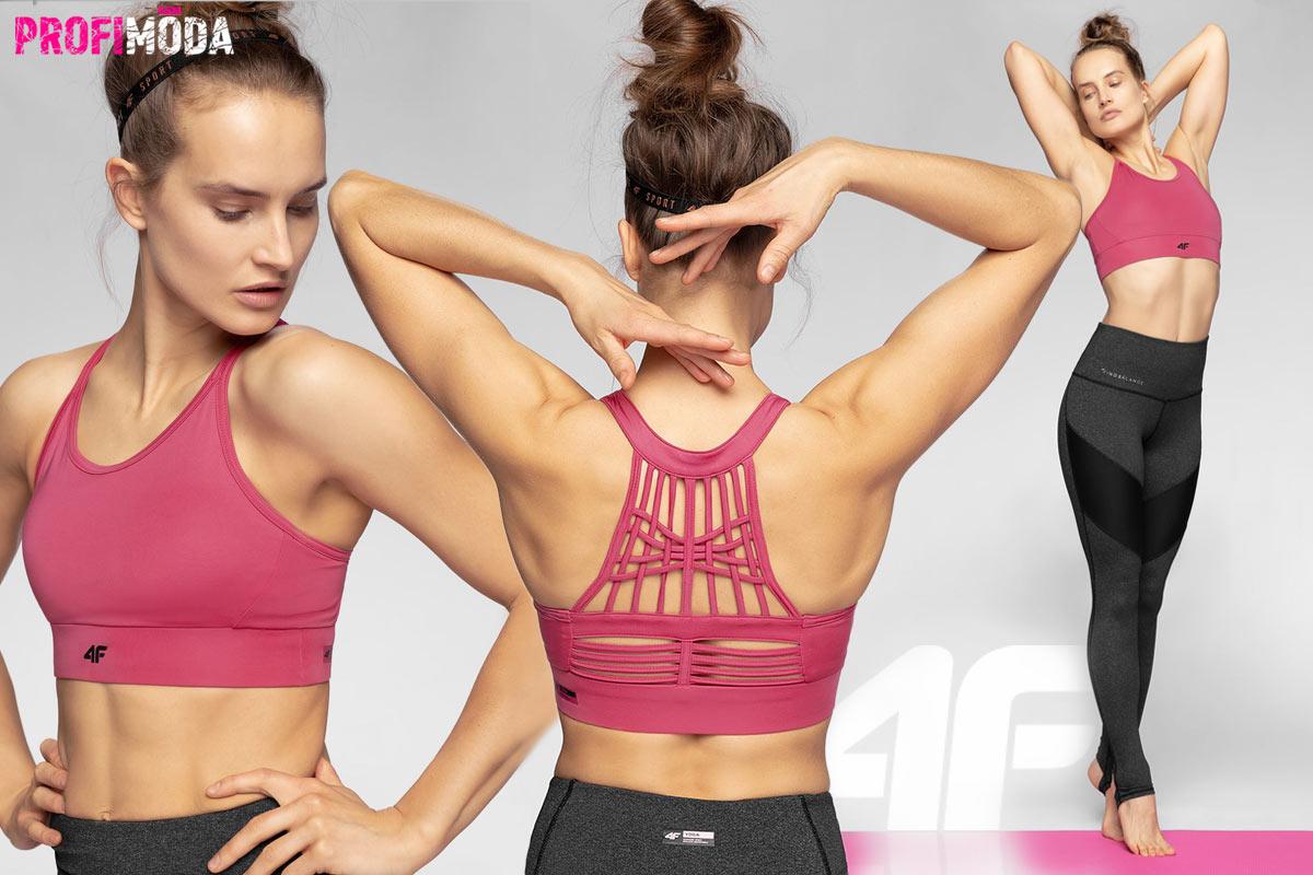 Dámská sportovní tréningová podprsenka na jógu. Elastická, rychleschnoucí, v boxerském střihu. Dokonalý vzhled dává podprsence pletený panel na zádech v technice makramé.
