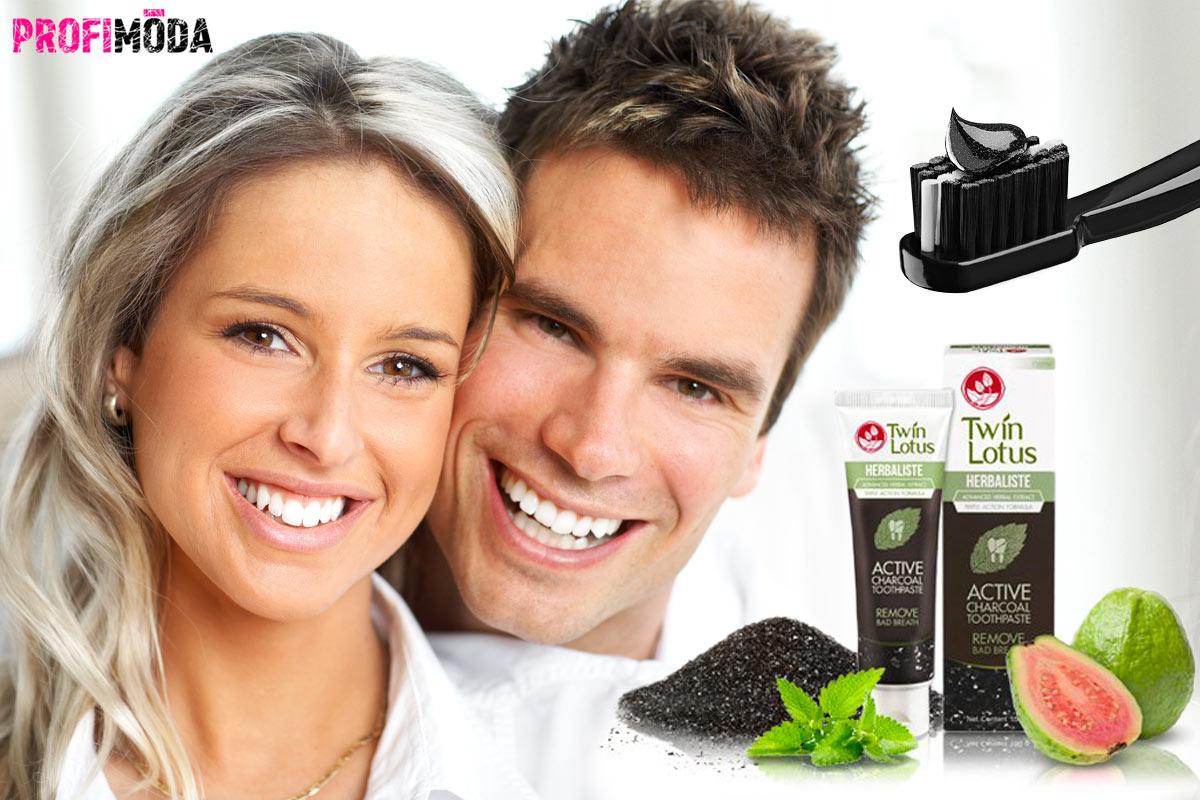 Bělící zubní pasta využívá účinek aktivního kokosového uhlí.