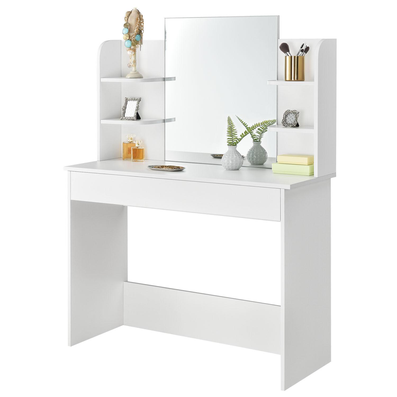 Moderní bílý toaletní stolek pro ty, které preferují jednoduchý design nábytku.