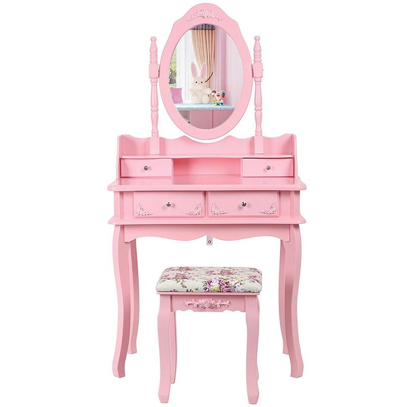 Romantický růžový toaletní stolek vhodný i pro děti.