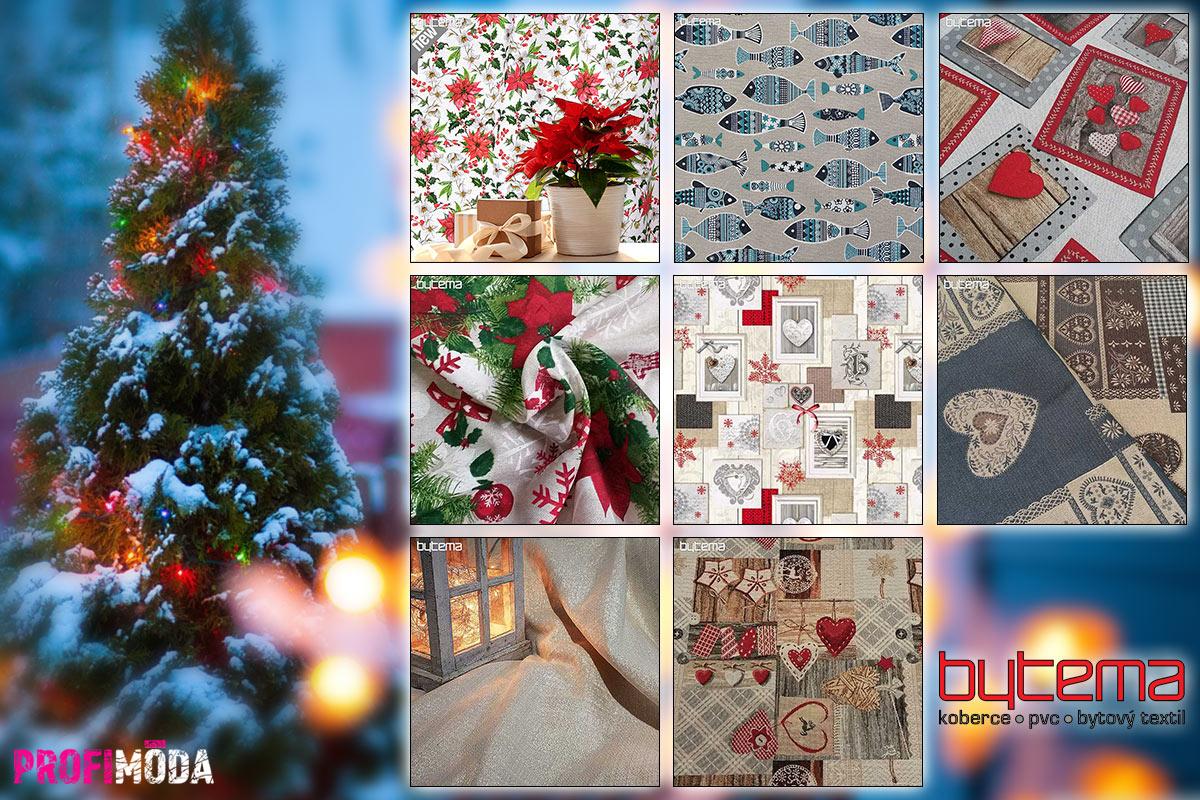 Připravte se na Vánoce. Ještě stihnete ušít vánoční ubrusy, prostírání, polštáře, závěsy i ozdoby. Metráž s vánočními motivy nakoupíte v obchodu Bytema.